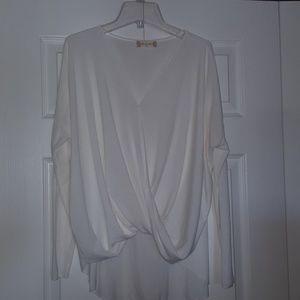 Altr'd State semi sheer white blouse